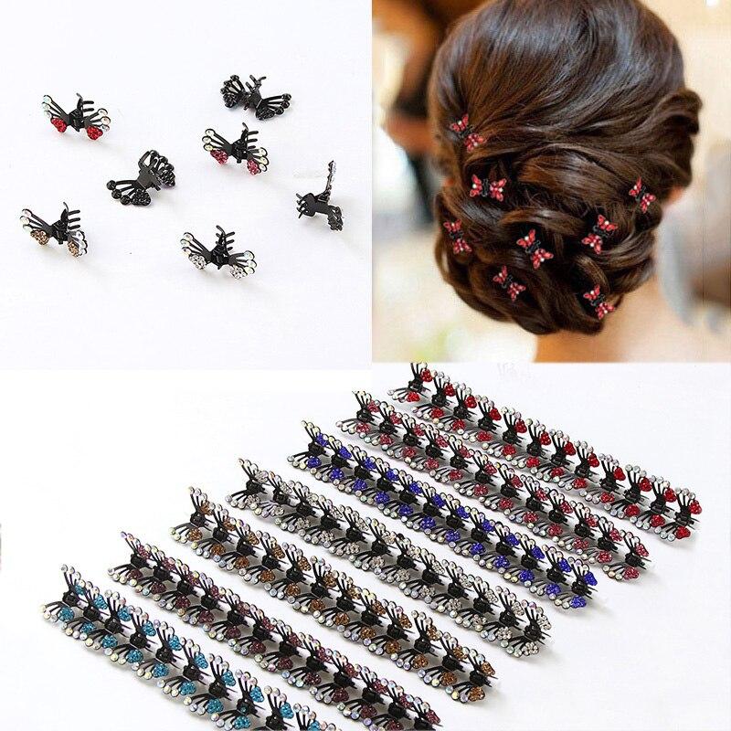 12pcs/Lot Women Crystal Alloy Butterfly Hair Claw Headbands Cute Hair Ornament Hairpins Barrettes   Headwear   Lady Hair Accessories