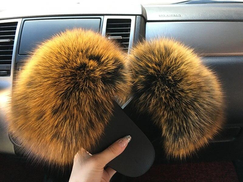 e613b8ba3 2018 hot Sale thickness bottom Women Fur Slippers Luxury Real Fox Fur Beach  Sandal Shoes Fluffy Comfy Furry Flip Flops