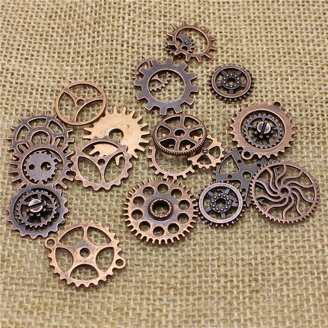 PULCHRITUDE Mix 50 pcs Vintage steampunk Charmes Vitesse Pendentif Cuivre Antique Fit Bracelets Collier DIY Bijoux En Métal Making T0483