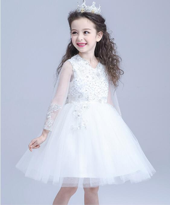 Childrens Dresses For A Wedding: Luxury Princess White Dresses For Girls Ball Gowns For