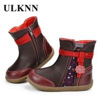 ULKNN Kids Boots Winter Shoes For Children Boots Girls Warm Genuine Leather Flower Crystal Fashion Retro
