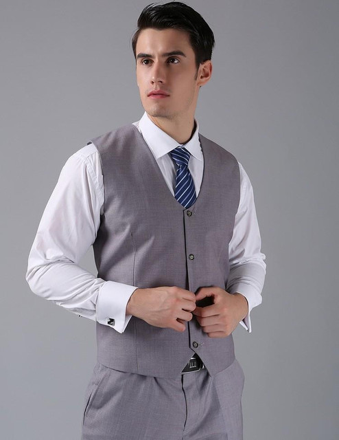 2017 New Arrival Groom Vests Light Gray Groomsmens Vest Custom Made Size and Color Four Buttons Wedding/Prom/Dinner Waistcoat