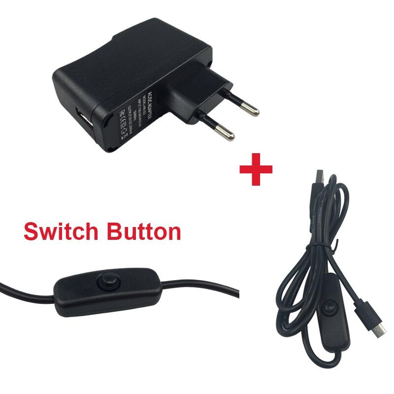 Raspberry Pi 2 Power Charger 5 V 2A Power Supply Adapter Plug + Switch USB Cable Wire for Orange Pi Zero One Raspberry Pi Zero