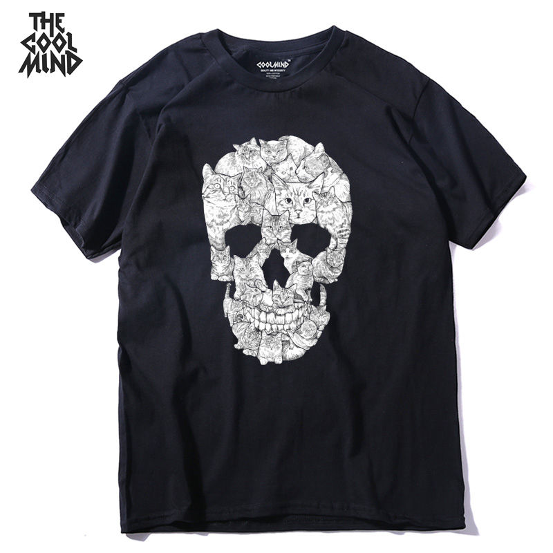 COOLMIND QI0229A 100% cotton street style loose cool skull print men   T     shirt   casual short sleeve o-neck loose cotton mens tshirt
