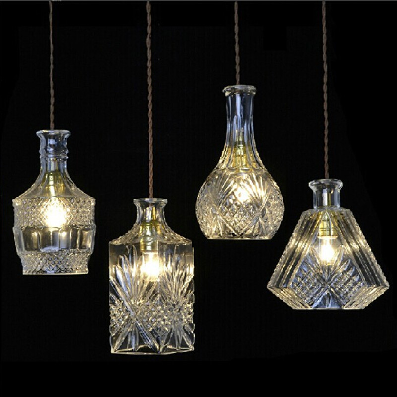 Modern Creative Glass bottle Pendant Lights E27 Retro DIY Cafe Bar Restaurant Pendant Lamp Led Bulbs Lights Fixture Home Decor modern colorful color stone glass pendant lights retro hanging restaurant lustres g4 led bulbs fixture indoor lighting