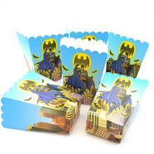 6pcs/lot Cartoon Batman Popcorn Box Kids Party Supplies Birthday Gift Favor Accessory