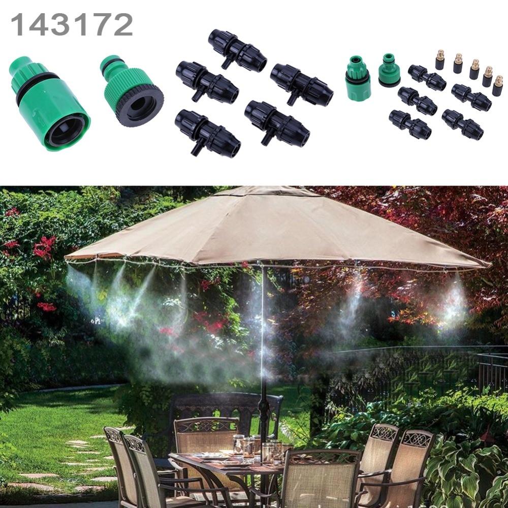 5 M slang 5 stks Sproeikop en Nylon gebundeld Draad Outdoor Tuin Vernevelen Koelsysteem Mist Nozzle Sprinkler water kits systeem