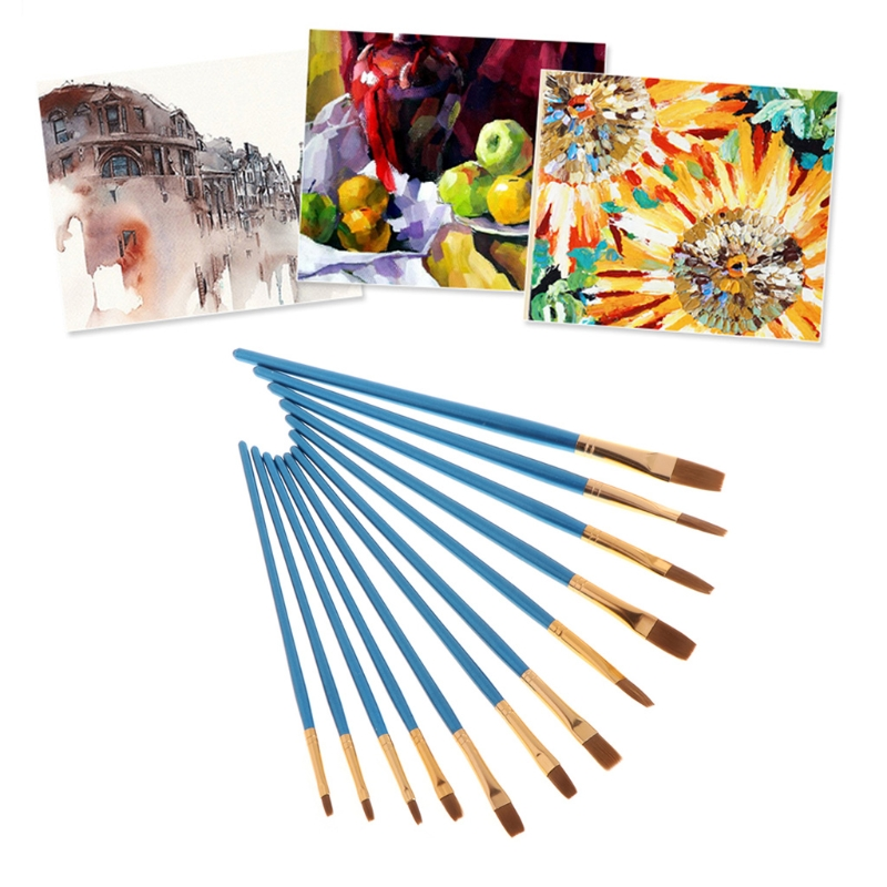 12Pcs Paint Brush Set Nylon Hair Flat/ Pointed Tip Watercolor Oil Acrylic Painting