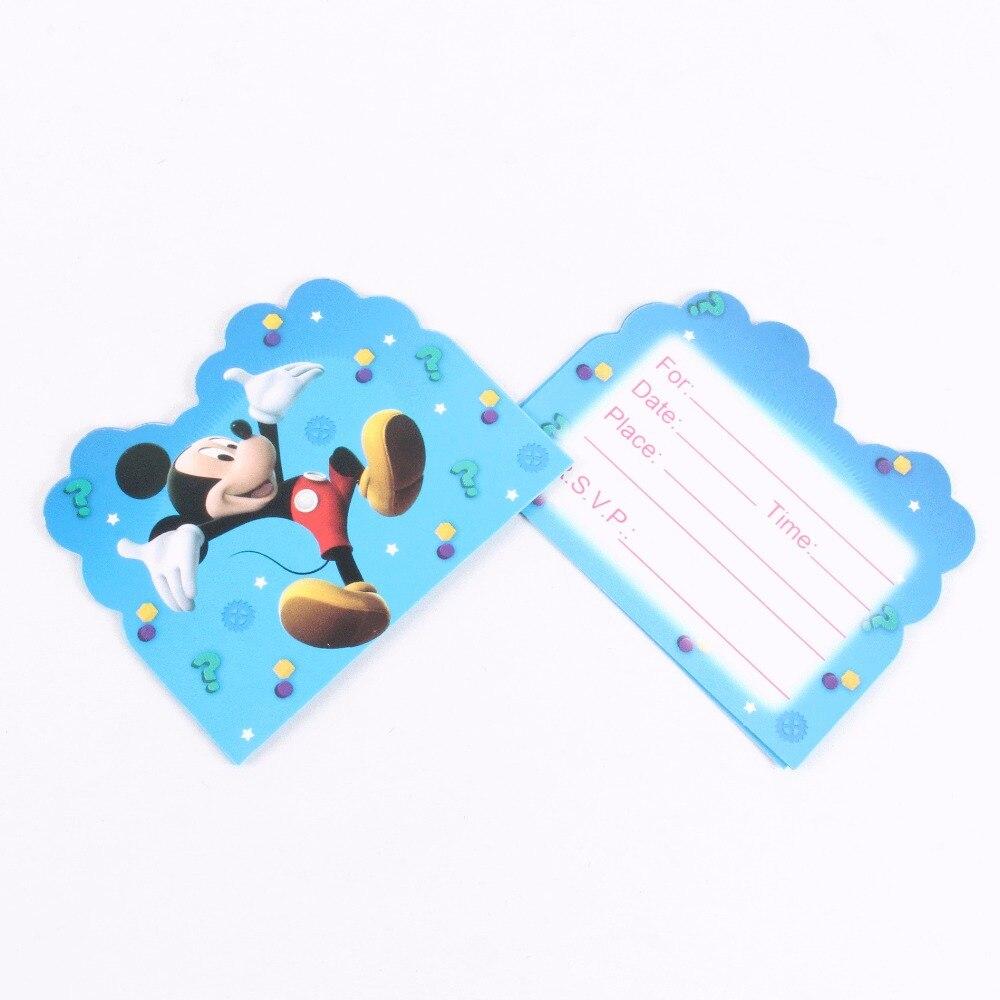 10 pcs/lot Cartoon Mickey Mouse Birthday Party Supplies Invitation Card Birthday Party Decorations Kids mickey party