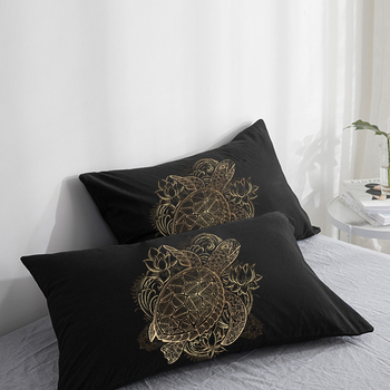 2PCS Pillow Case 50x70 50x75 50x80 70x70 Pillowcase,Bedding Custom Decorative Pillow Cover Turtle on Black,Drop Shipping image
