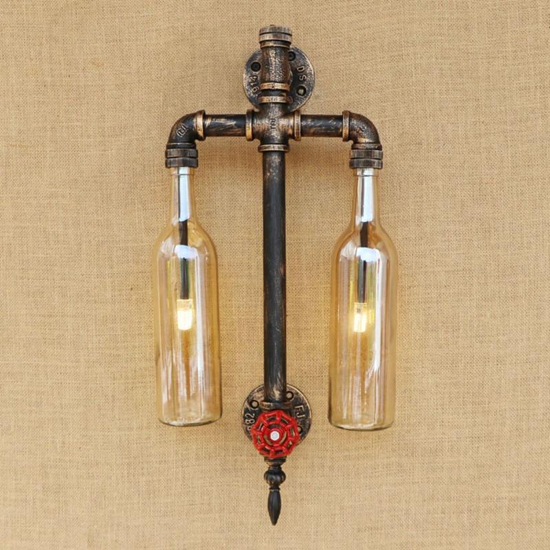 Vintage Glass Shade Pipe Wall Lamp LOFT Livingroom Wall Light With G4 LED BULB Bedroom Light Foyer  Decoration Sconce 110V 220V glass brick bulb lamp led night light 220v