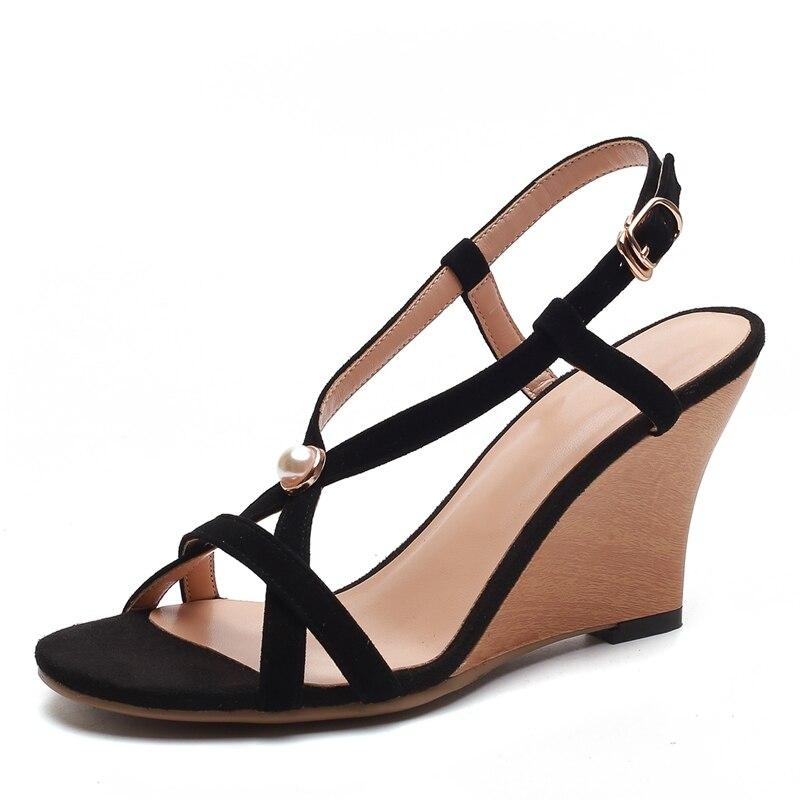 Kid 39 Enmayer Chaussures De Zyl103 Black Femmes Mode D'été Sandales Pour 34 Décontractées Compensées Brides pink Boucle Nouveauté Suede À Dames rrEqXw