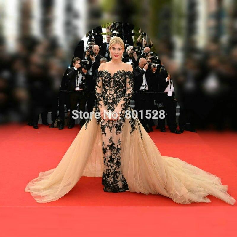 Élégant sirène Champagne longue robes de célébrité manches longues Appliques noires Kylie Jenner robes de tapis rouge avec surjupe