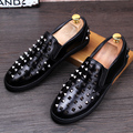 Men Genuine leather Loafers Fashion Rivet Male Leather shoes Breathable Slip On Flats chaussure homme huarache Driving shoes 022