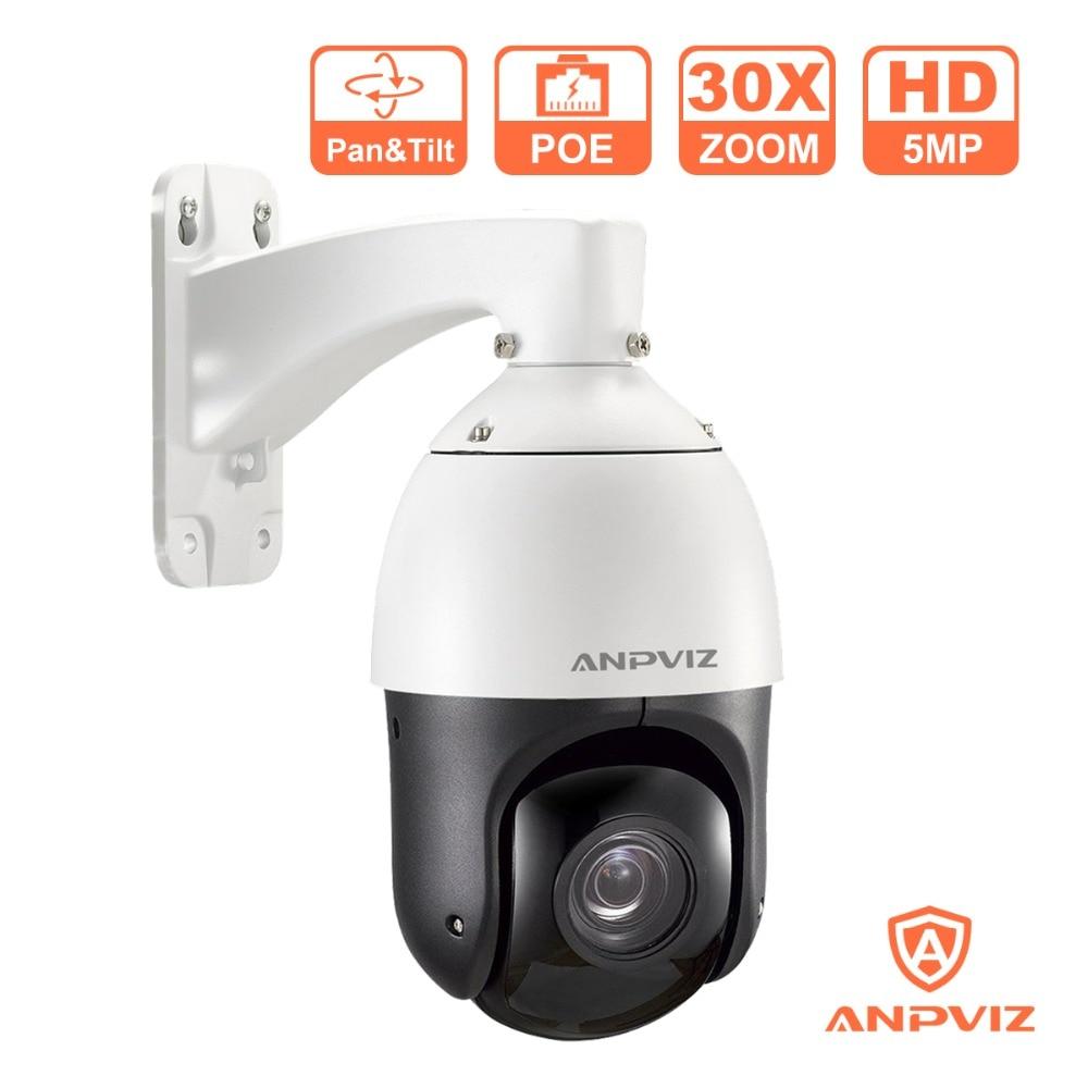 Anpviz 1080P PTZ Dome IP Camera PoE 5MP Outdoor 4.7 94mm Motorized Zoom 30X Speed Dome Video Surveillance Cameras Night Vision