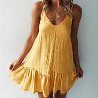 Lossky Loose Summer Dress Cotton Sexy White Halter V-neck Ruffled Women Casual Spaghetti Strap Mini beach clothes for women 2020