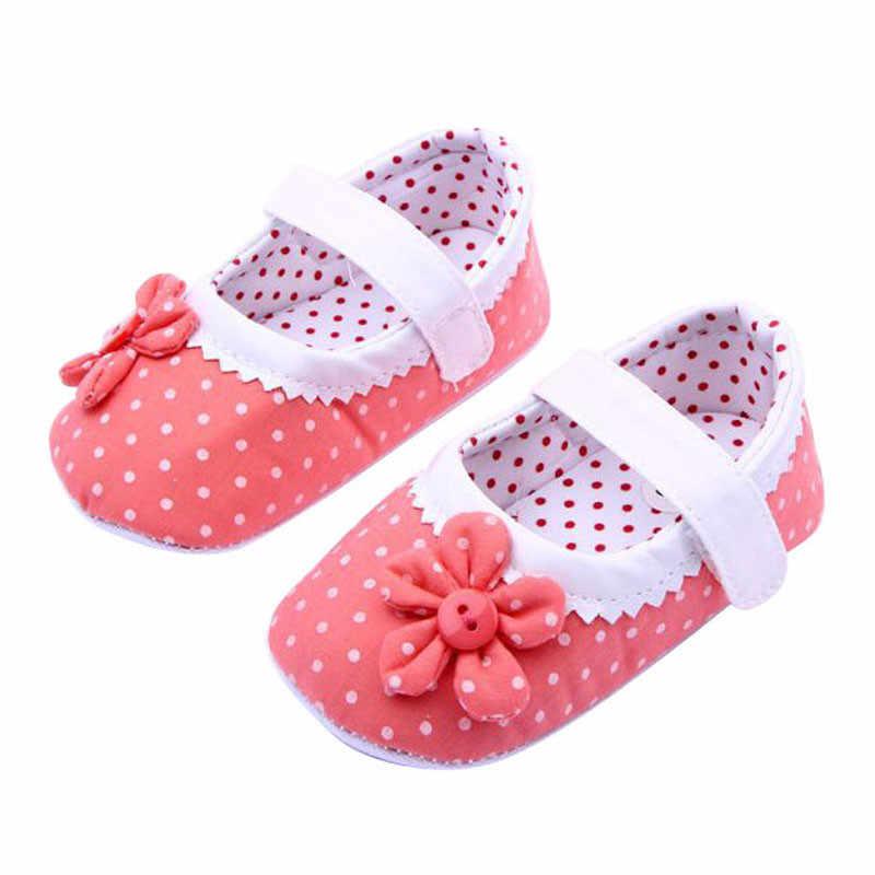 """0-18 חודשים בנות פרח נעלי בד כותנה תינוק פעוט בלעדי רך נעלי עריסה עור PU RD/11 ס""""מ p # dropship"""
