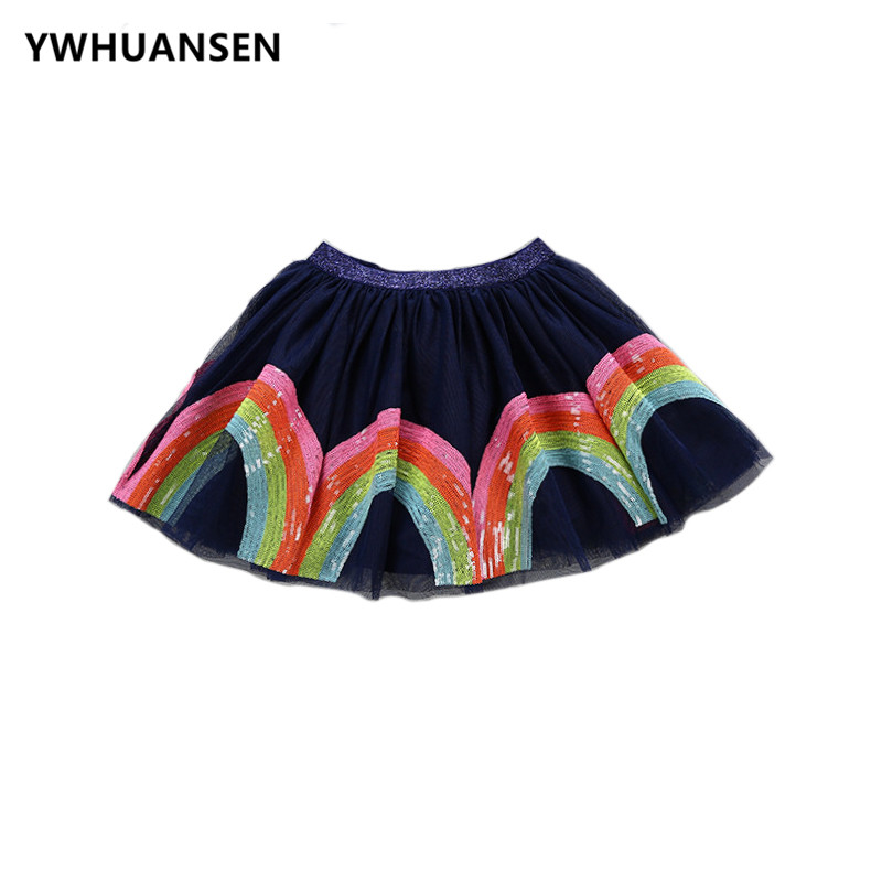 YWHUANSEN 2018 New Rainbow Cotton Skirt Sequin Embroidery Baby Girl Skirt Cute Rabbit Princess Kid Clothes Tutu Skirt Tulle Pink