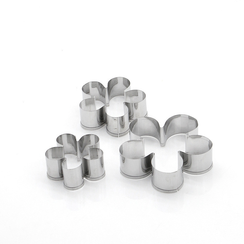3 Pcs/Set Flower Shape Baking Mould Stainless Steel Cookie Cutter Plunger DIY Biscuit Cookie Mold Kitchen Pastry Stencils