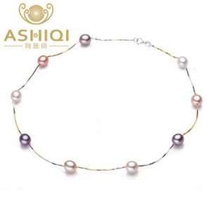 ASHIQI Natural pearl necklace 100% 925 sterling silver necklace, 7-8mm Real Cultured Freshwater pearl Jewelry for Women gifts