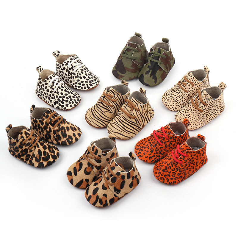 Genuine Leather  Horse Hair Boys First Walkers Lace Baby Moccasins Oxford Baby Shoes Leopard Print Baby Girls Soft Shoes
