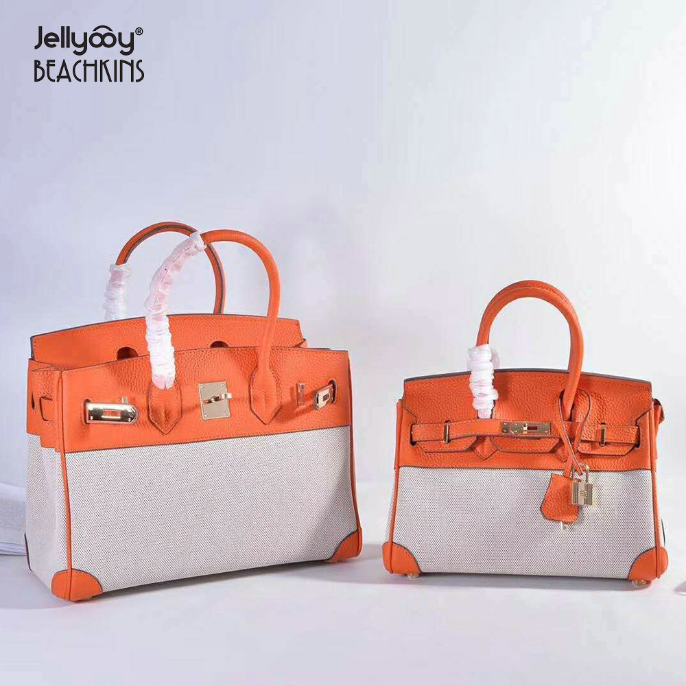 509b92a677 Jellyooy Beachkins Women s Classic Genuine Leather Toile Canvas Handbags  With Gold Hardware 25 30CM Luxury