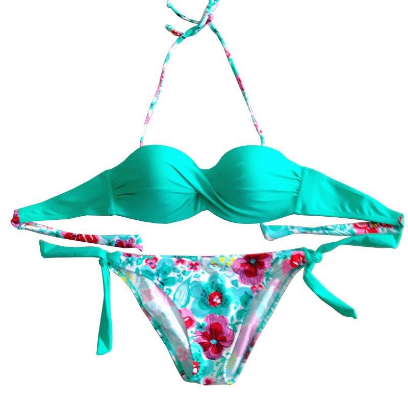 2018 new arrival floral print bikini bandeau top sexy bikini women halter swimwear Black biquinis brazilian New swimsuit S-2XL