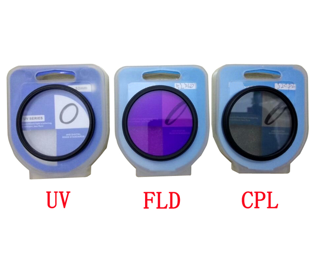 3 in 1  37 40.5 43 46 49 52 55 58 62 67 72 77mm lens UV FLD CPL Digital Filter Lens for canon nikon DSLR SLR Camera with box