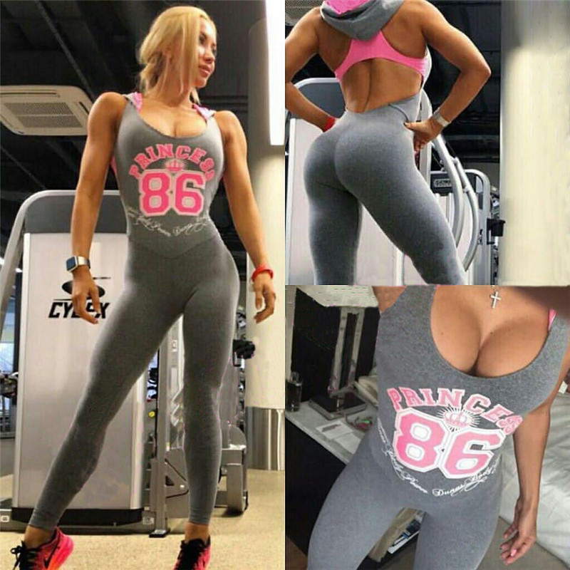2017 Women Sporting Jumpsuit Hooded Letter Printed Light Gray Back Hollow Bodysuit Top Gymming Clothing for Women
