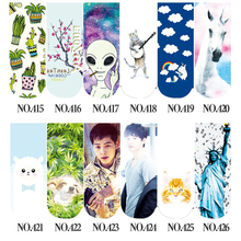 SP&CITY 2017 Korea Idol 3D Socks Alien With Cat Unicorn Socks Cartoon Funny Cactus Art Socks Cotton Weed Short Art For Women