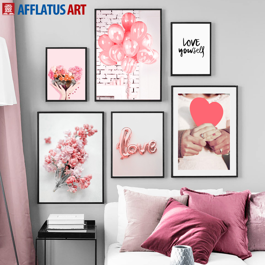 Pink Rose Flower Balloon Ring Love Quotes Wall Art Canvas Painting Nordic Posters And Prints Pictures For Living Room Decor