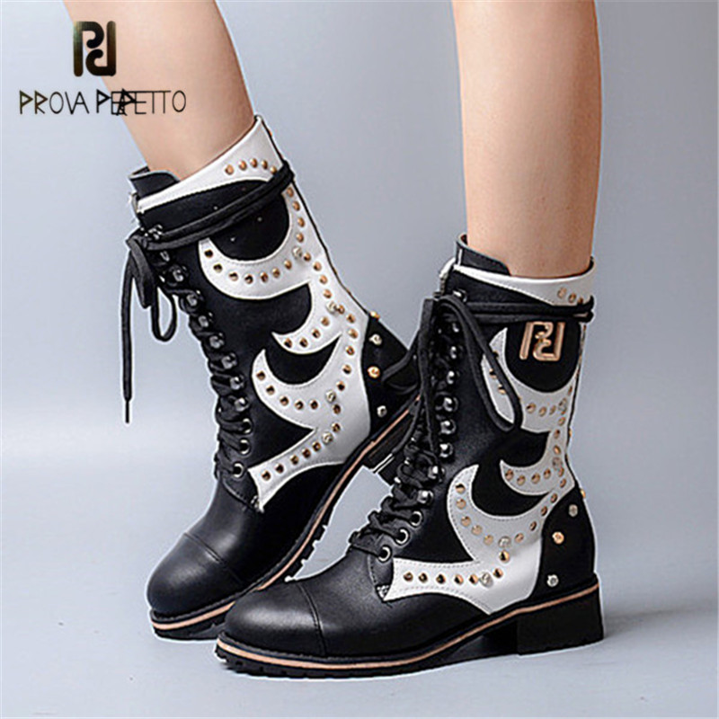 Prova Perfetto Mixed Color Rivets Studded Women Mid-calf Martin Boot Low Heel High Boots Genuine Leather Lace Up Winter Boots prova perfetto winter women warm snow boots buckle straps genuine leather round toe low heel fur boots mid calf botas mujer