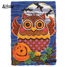 diy latch hook kits rug tapestry kits 3d printed canvas Halloween owl decor crochet tapis needle for carpet Foamiran for crafts(China)
