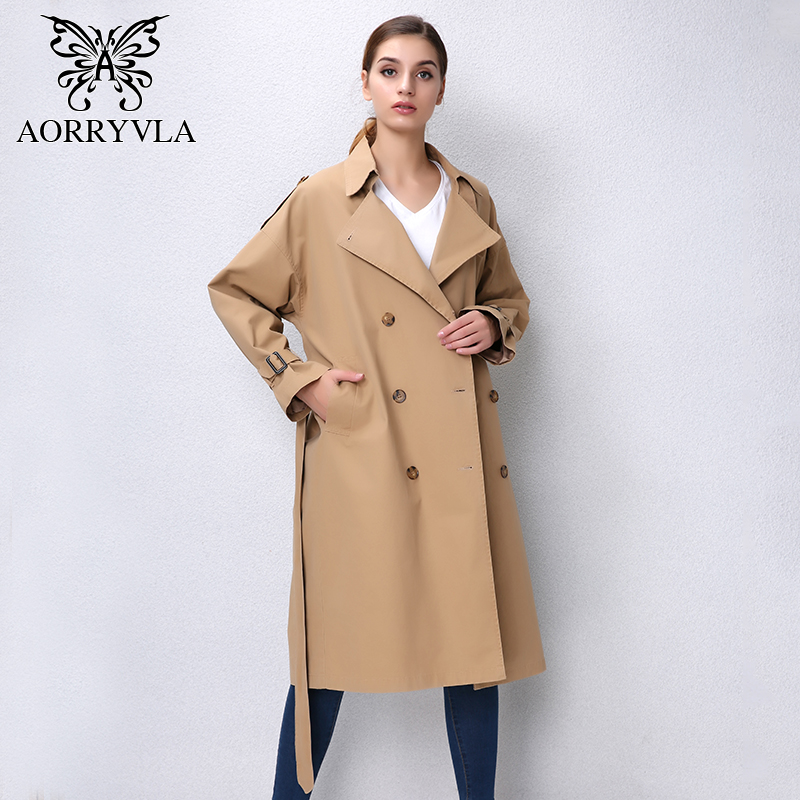 AORRVLA 2018 Autumn New Fashion Casual Trench Coat For Women Classic Double Turn Down Cotton Belt