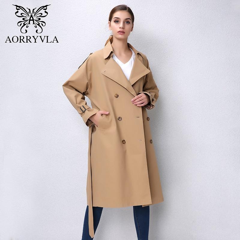 AORRVLA 2018 Automne Nouvelle Mode Décontracté Tranchée Manteau Pour Femmes Classique Double Rabattu Coton Ceinture X-long manteau Style Lâche
