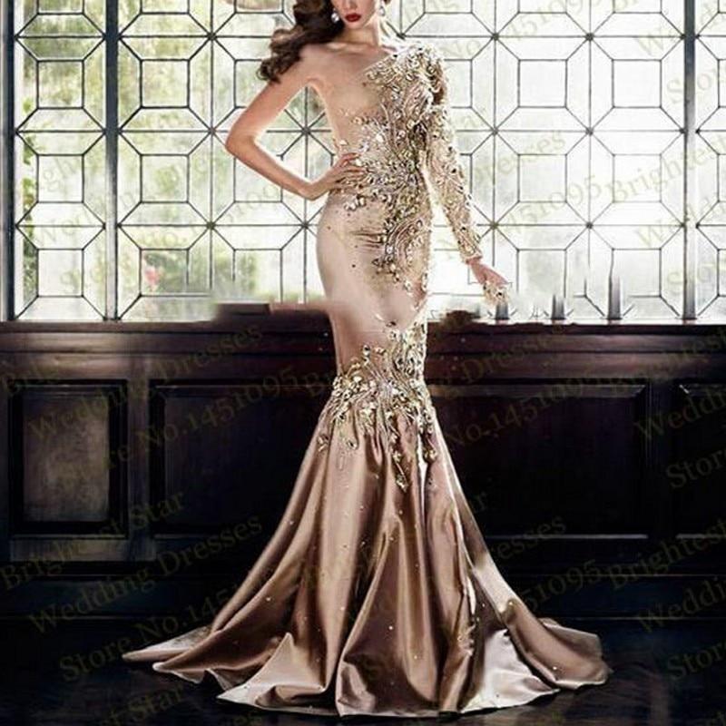 Sequins Evening Dresses Mermaid Sleeves vestido de festa longo New ...