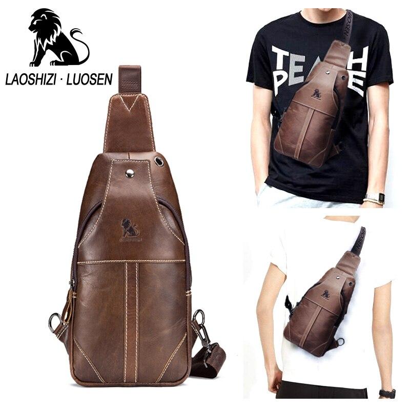 LAOSHIZI 2018 New Fashion Cow Leather Crossbody Bag men famous Brand large  capacity sling chest bag e570ca82b3475