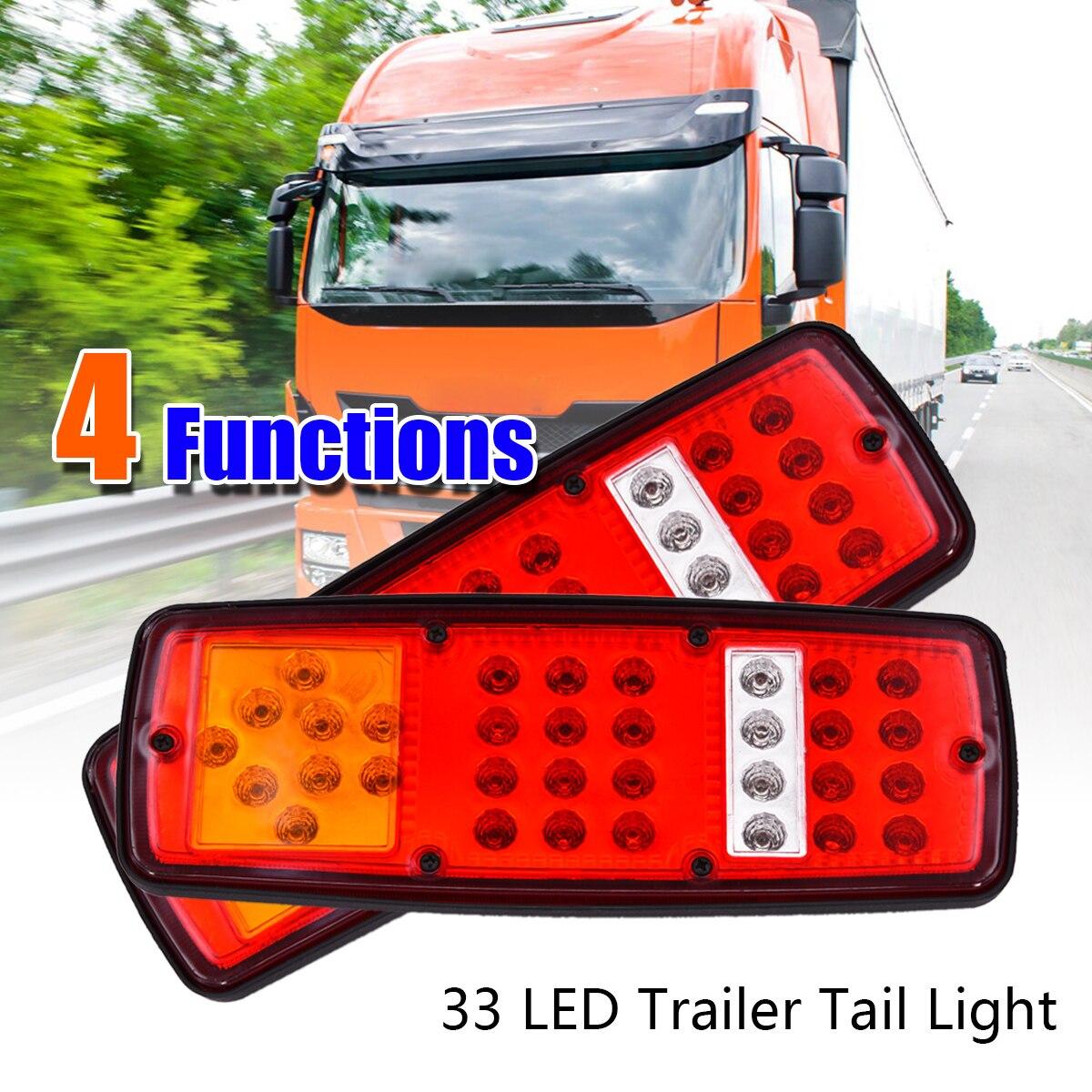 2pcs Rear Tail Lights 27.6*10.3cm 12V Truck Trailer Boat 33 LED Lamp Kit Tail Light Stop Indicator Waterproof