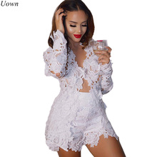 Summer Autumn Sexy Women Two Piece Sets Women Hollow Out White Lace Floral Deep V Neck Long Sleeve Top and Short Pant Suits