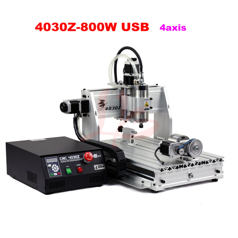 Free tax to Russia,4 axis cnc router 4030Z-800W cnc milling machine,ball screw woodworking cnc machine no tax to russia cnc 5 axis t chuck type include a aixs