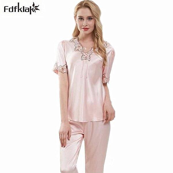 European style new sexy v-neck silk women pajama short sleeve lace woman  pijama set ladies sleepwear nighties pyjama femme c3690bf72