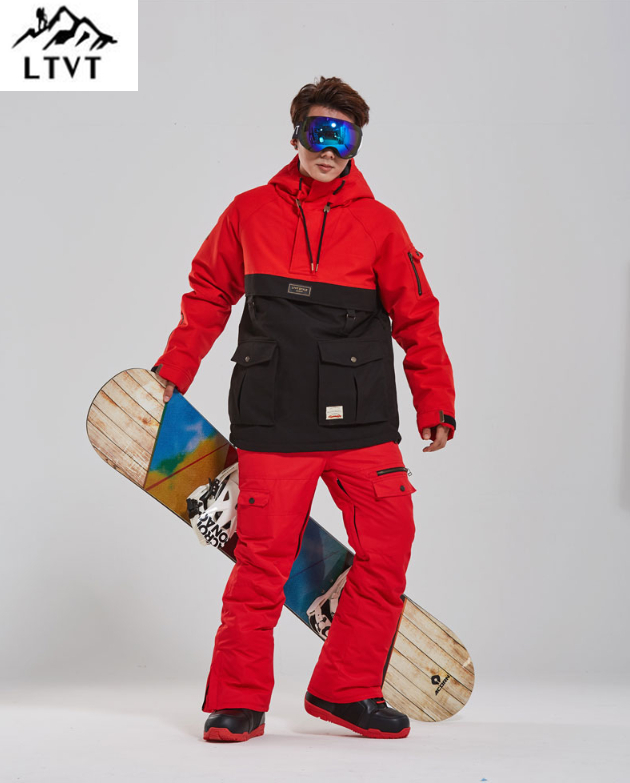 LTVT Snowboard Clothing Men's Women's Snow Suit Color Matching Thicken Quilted Waterproof Double Board Male Ski Suit Set New