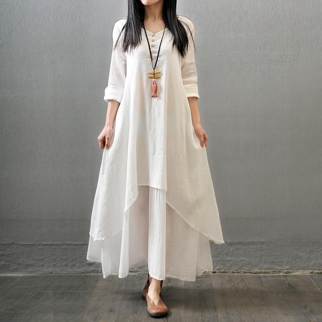 0dff0cbf749 plus size M-5XL 2018 summer vintage cotton linen Fake two-piece long sleeve  white casual dress women robe femme maxi dress