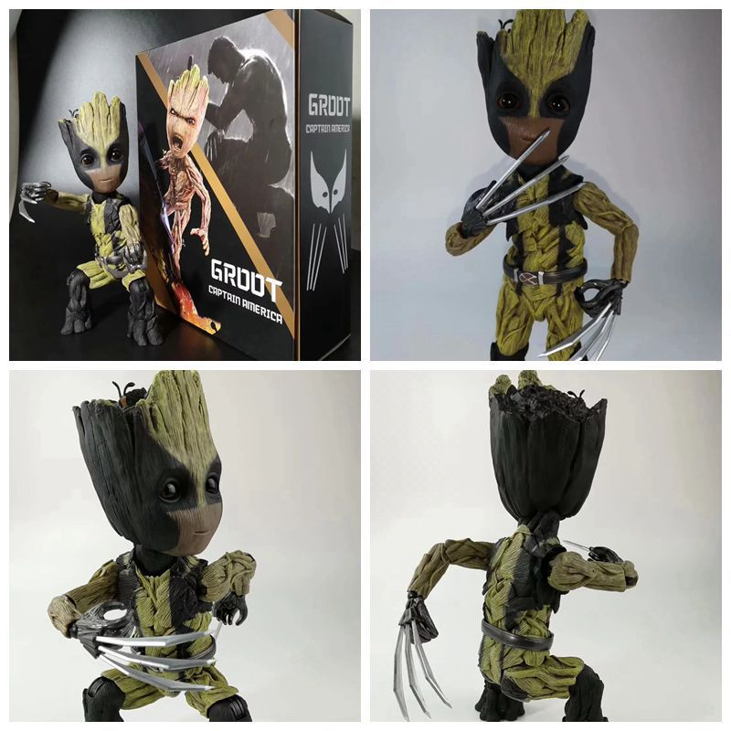 Hot Toys Guardians of The Galaxy Cute Baby Marvel Tree Man Groots COS Wolverine Joints Moveable Action Figure Toys Top Quality