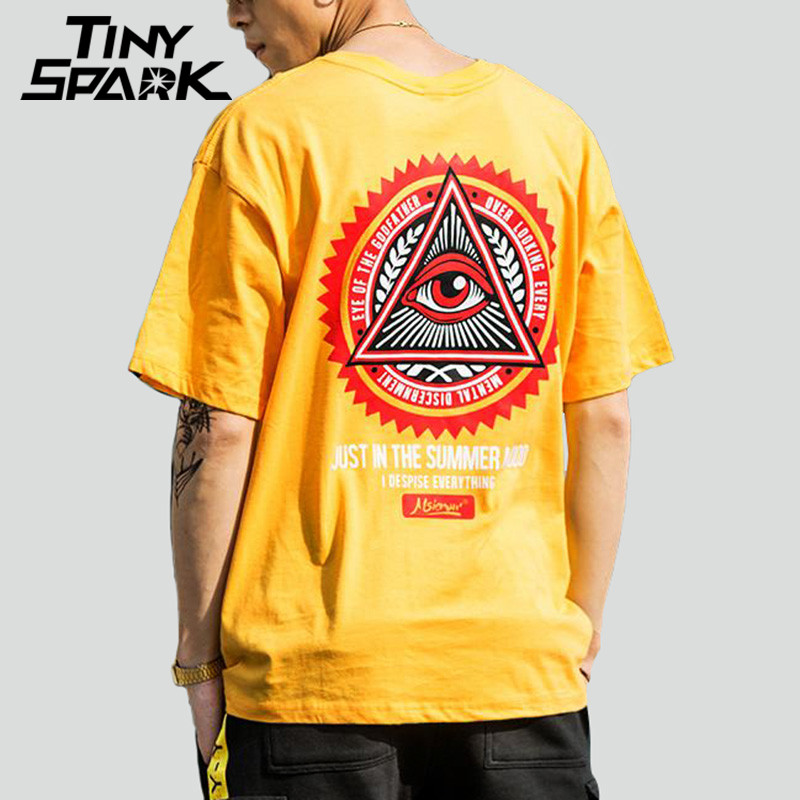 Geometry Triangle Eye   T     Shirts   Men's Hip Hop   T  -  Shirt   Godfather Printed Casual Cotton Tops Tees New 2018 Summer Streetwear Tshirt