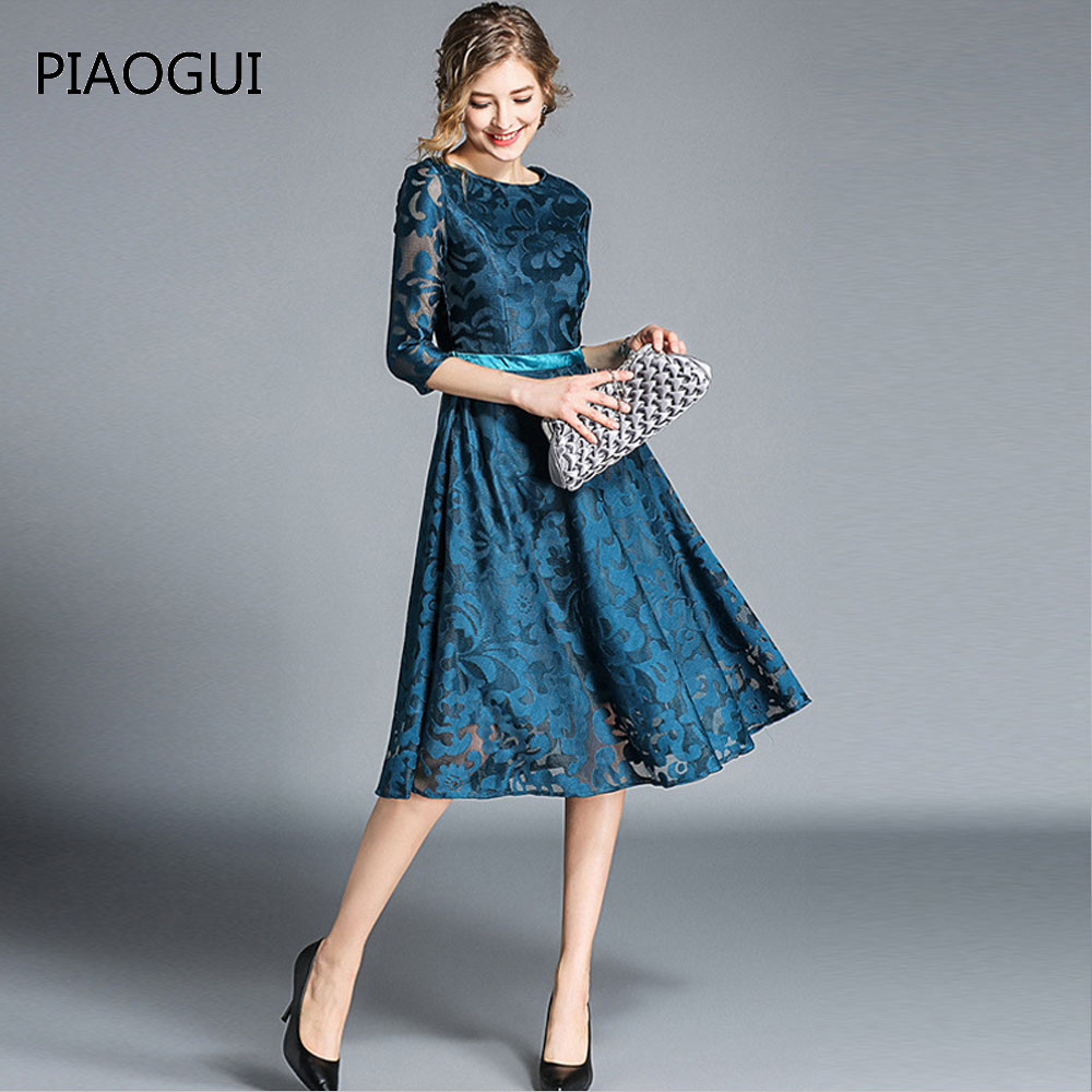 Women A-Line Vintage Elegant Slim Hollow Out Lace Dress Plus Size Party Long Dresses 2019 Spring Dress Fashion New Arrival Blue short dresses office wear