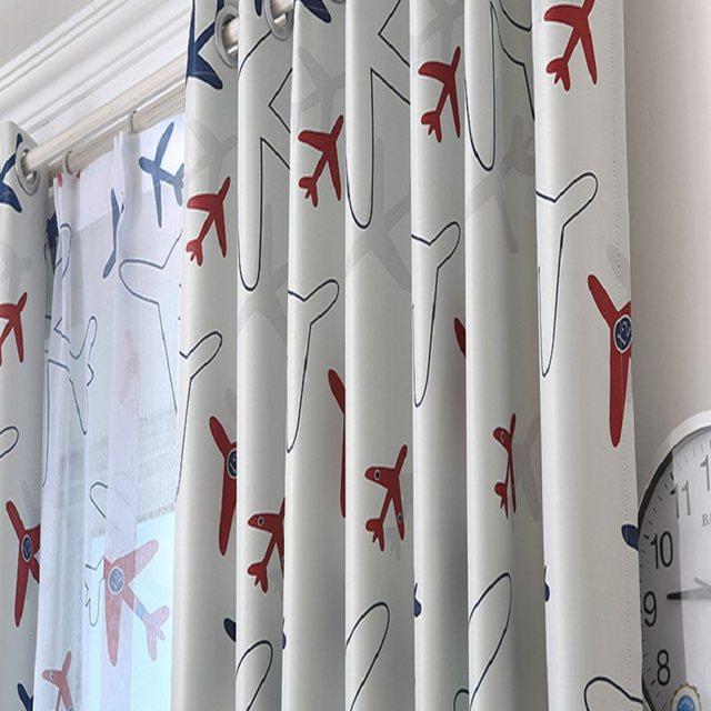 Good Modern Cartoon Lovely Airplane Curtain Printed Voile Window Screen Panel  Kids Boys Room Bedroom Curtains Tulle Drapes 334u002620