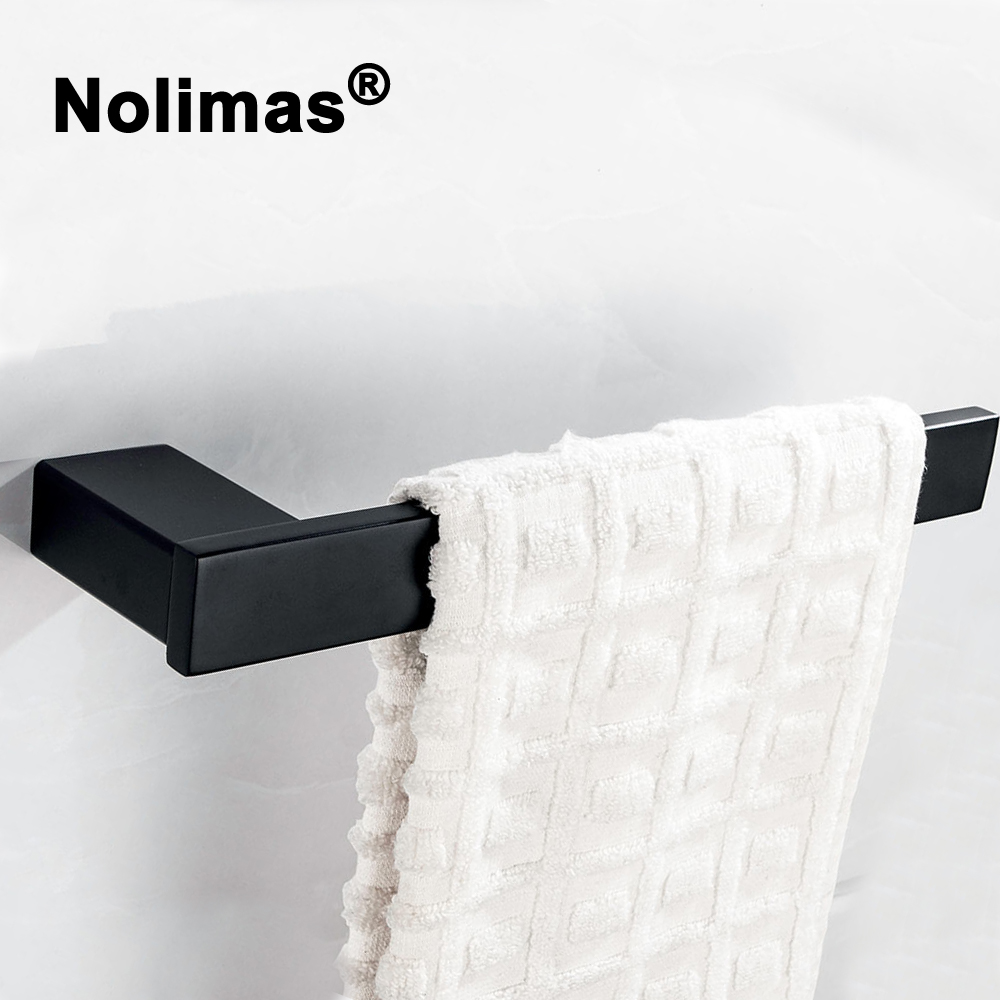 Electroplated SUS 304 Stainless Steel Towel Ring Single Towel Bar Black Square Towel Rack Bathroom Wall Mounted Towel Holder купить в Москве 2019