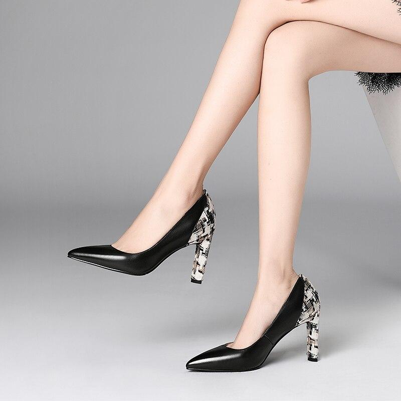 Chaussures Printemps 34 2019 Haut Couleur Nouvelle Fine Couche Hauts D815 Première Le Talon Nouveau noir Talons Beige Vachette Correspondant Taille Mode 39 À Automne qwxSrIxEyH