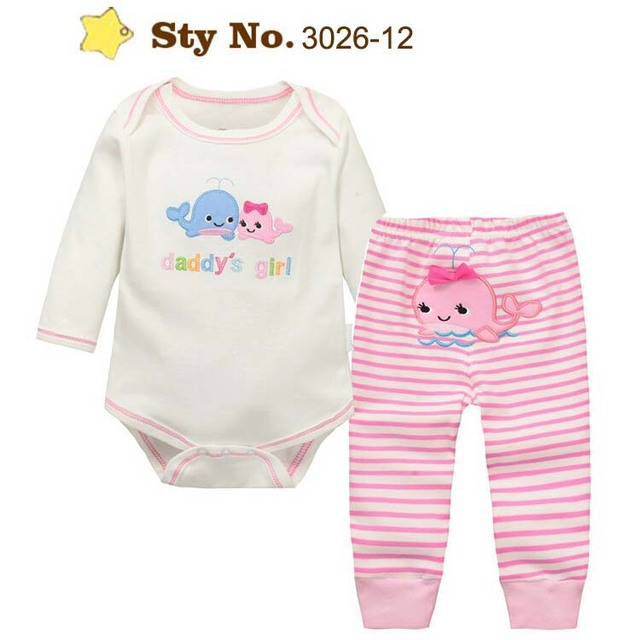 Momscare Cute Cartoon 100% Cotton Full Sleeves Baby Bodysuit + Pants Infant Suits Boys 2-Piece Clothing Set Girls Clothes Spring